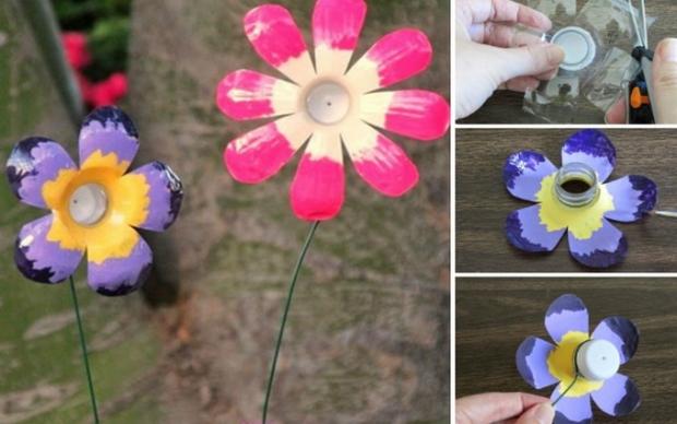 Украшаем дачу: цветы из бутылок