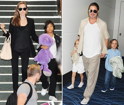 Анджелина Джоли и Брэд Питт с детьми покидают Токио