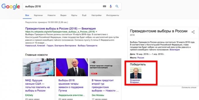 Google задва месяца довыборов назвал Владимира Путина  ихпобедителем