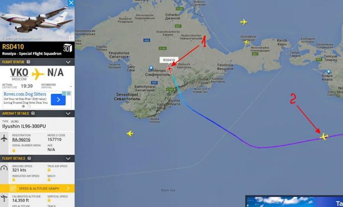 Літак Путіна помітили на шляху до Криму (1)