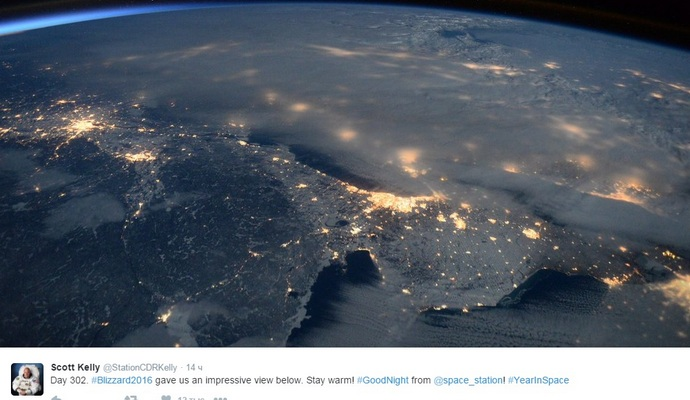 Появилось фото снежной бури в США из космоса