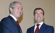 Буш рад предстоящему сотрудничеству с Медведевым