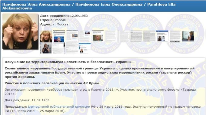 Глава ЦВКРФ Памфілова потрапила добази даних «Миротворця»