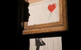 Оригінальне рішення: самознищену картину Бенксі перепродали як шедевр моментального мистецтва