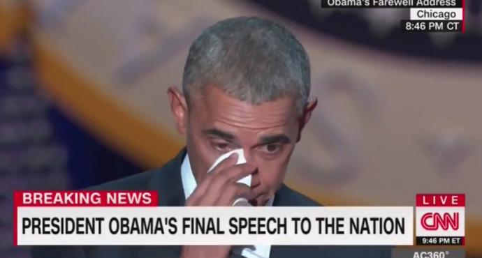 Обама растрогал сеть слезами во время прощальной речи: появилось видео (1)