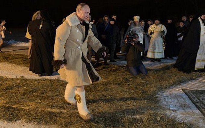 Путин в валенках и тулупе искупался в проруби: опубликовано видео