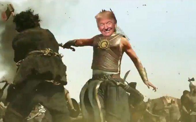 С мечом и на коне: Трамп неожиданно стал главным героем известного фильма