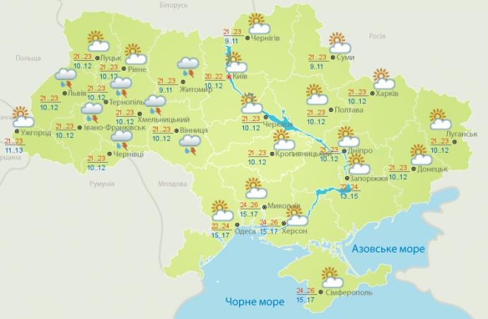 Прогноз погоды на выходные дни в Украине - 8-9 июля (1)