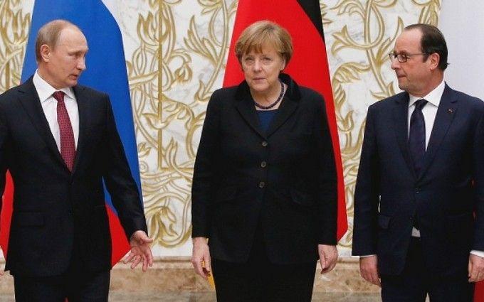 Олланд покликав Путіна до Франції, а Меркель бадьоро нагадала про Україну