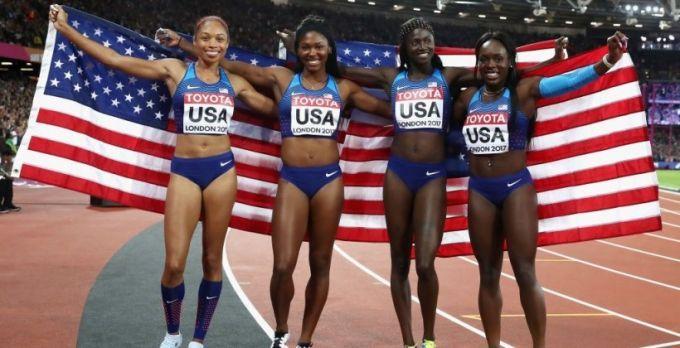 США выиграли женскую эстафету 4X100 метров