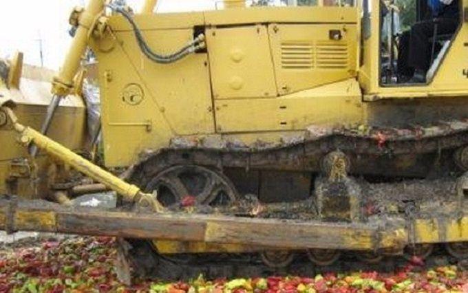 """У Росії розчавили трактором тонни продуктів з країни- """"союзника"""": опубліковано фото"""