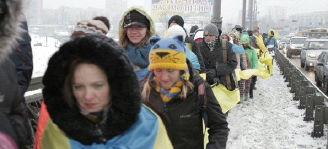 """На День Соборности киевляне образовали """"живую"""" цепь (3 фото)"""