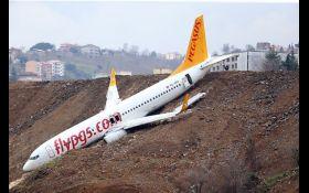 НП в аеропорту Туреччини: з'явилося відео паніки на борту  літака, який впав у прірву