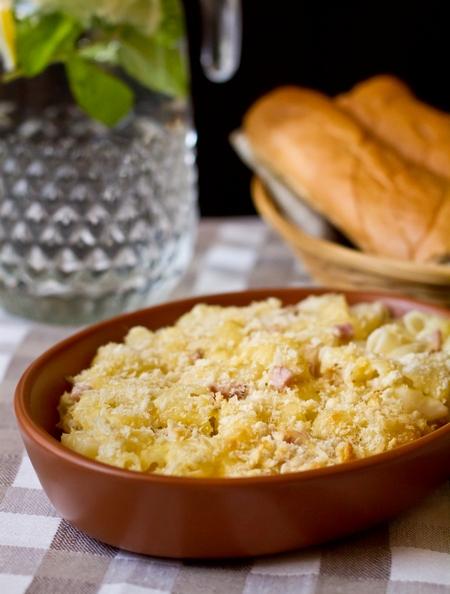 Макароны с сыром и ветчиной