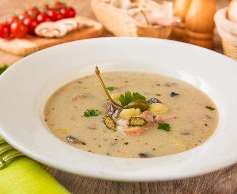 Сливочный грибной суп с курицей