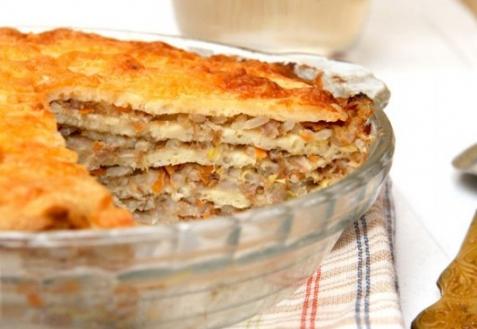 Рецепт - Блинчатый пирог с мясом, рисом и пекинской капустой
