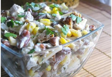 Рецепт - Куриный салат с фасолью