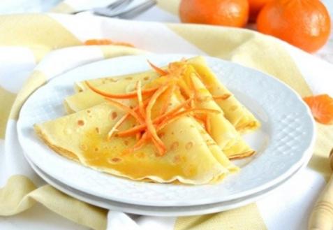 Тонкие блины с мандарином