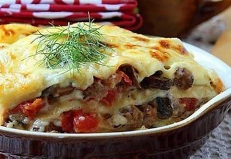 Рецепт - Лазанья с мясом и грибами