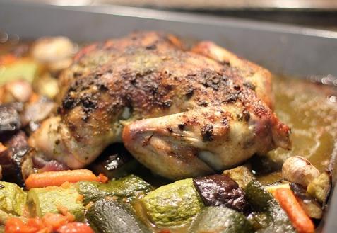 Курица с песто и запеченым рататуем
