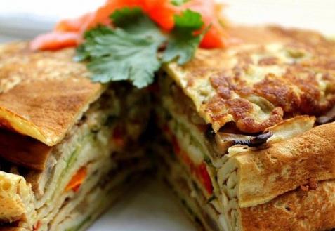 Рецепт - Блинный торт с овощами