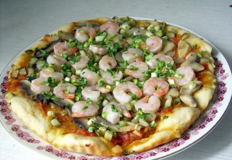Рецепт - Постная пицца с креветками