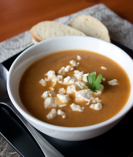 Суп-пюре из печеных баклажанов