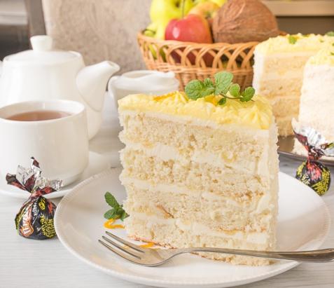 Кокосовый торт с лимонным курдом