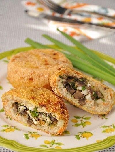 Рецепт - Рыбные зразы с грибной начинкой