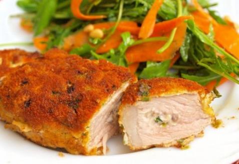 Рецепт - Свиные отбивные с грибами