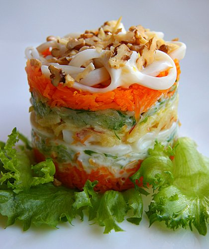 Рецепт - Салат с тыквой и кальмарами
