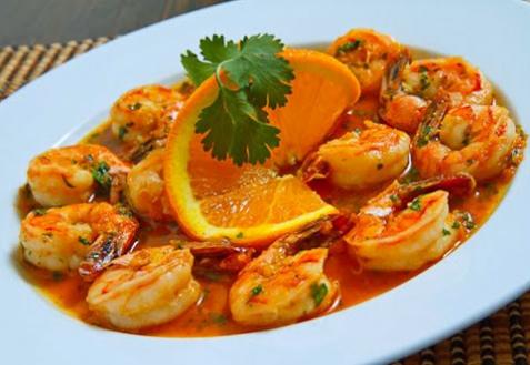 Рецепт - Креветки в апельсиновом соусе