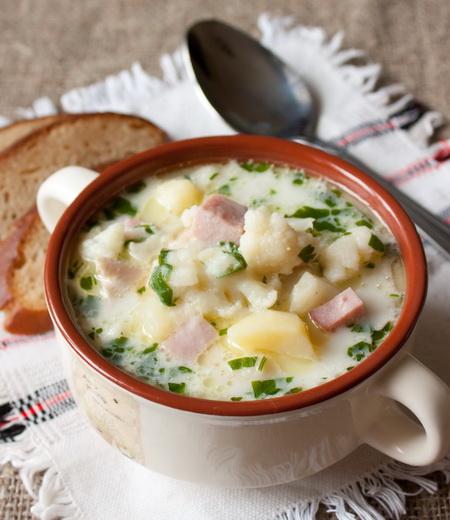 Быстрый суп из цветной капусты с ветчиной