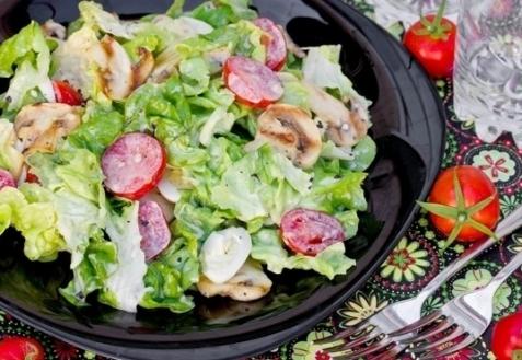 Рецепт - Салат с шампиньонами-гриль