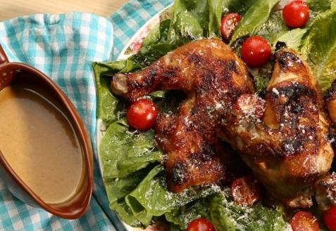Курица BBQ с соусом «Цезарь»