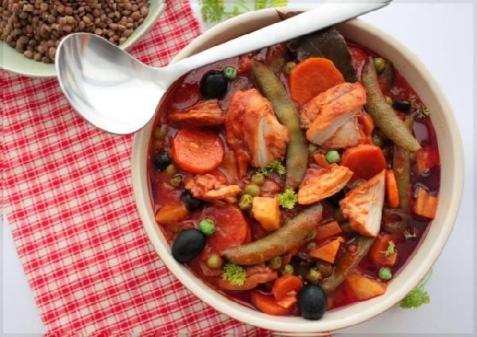 Рецепт - Курица тушеная в овощах