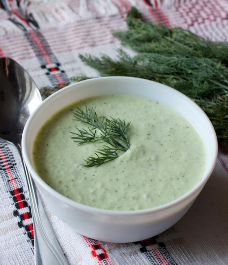Холодный сливочный суп из огурца