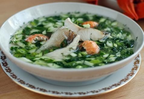 Рецепт - Окрошка с рыбой и раками