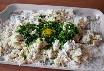 + мука, яйцо и зелень