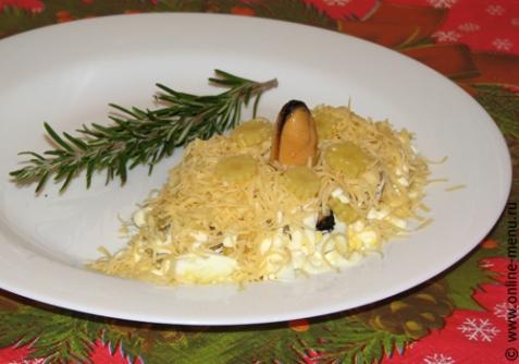 салат с консервированными мидиями с фото