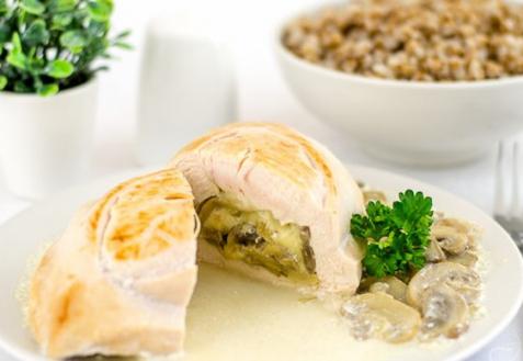 Куриная грудка, фаршированная сыром и грибами (видео)