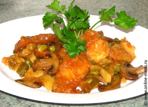 Рыба тушеная с овощами и грибами - рецепт