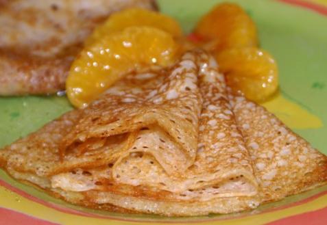 Рецепт - Пивные блинчики с мандаринами в карамели