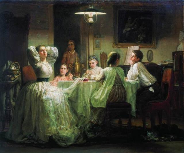 Максимов В.М. Шитье приданого,1866. За невестой давали приданое, вещи, в основном сшитые руками домашних.