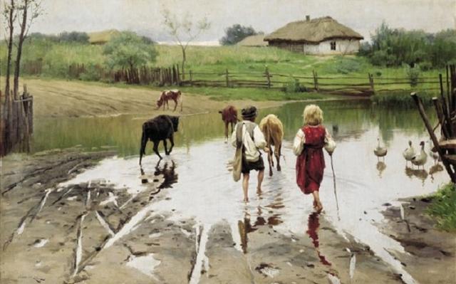 «Брод», (1901), холст, масло — Одесский художественный музей. Автор: Николай Пимоненко.