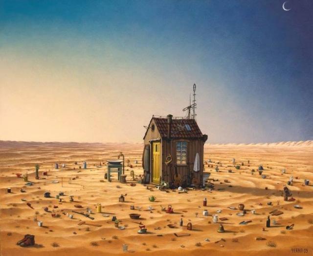 Маленький дом в прерии. Автор: Jacek Yerka.