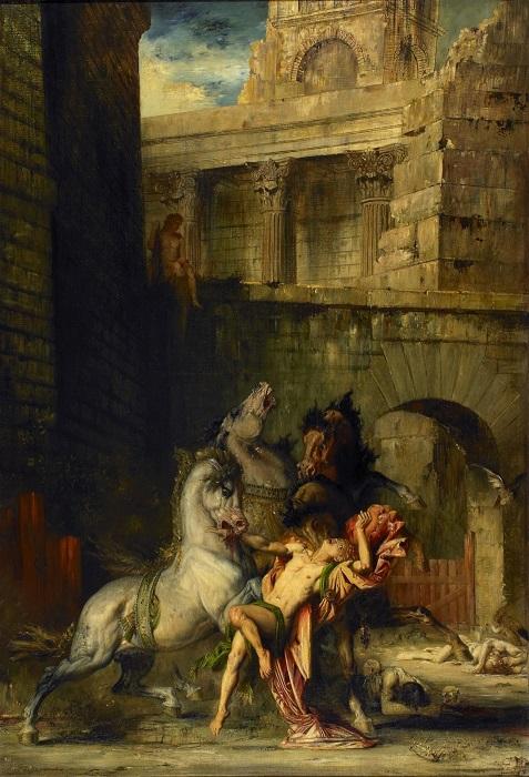Диомед, пожираемый своими конями. Г. Моро, 1865 год. | Фото: 2.bp.blogspot.com.