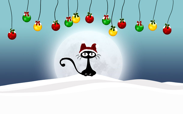 """Новогодняя картинка """"Черный кот в шапке Санты"""""""