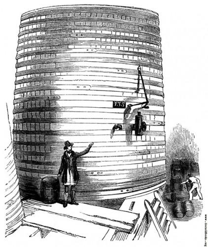 Одна из взорвавшихся цистерн пивоварни Meux and Company Brewery