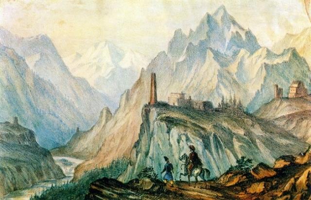 Вид Крестовой горы из ущелья близ Коби. Автолитография, раскрашенная акварелью. (1837-38г.г.). Автор: М.Ю. Лермонтов.